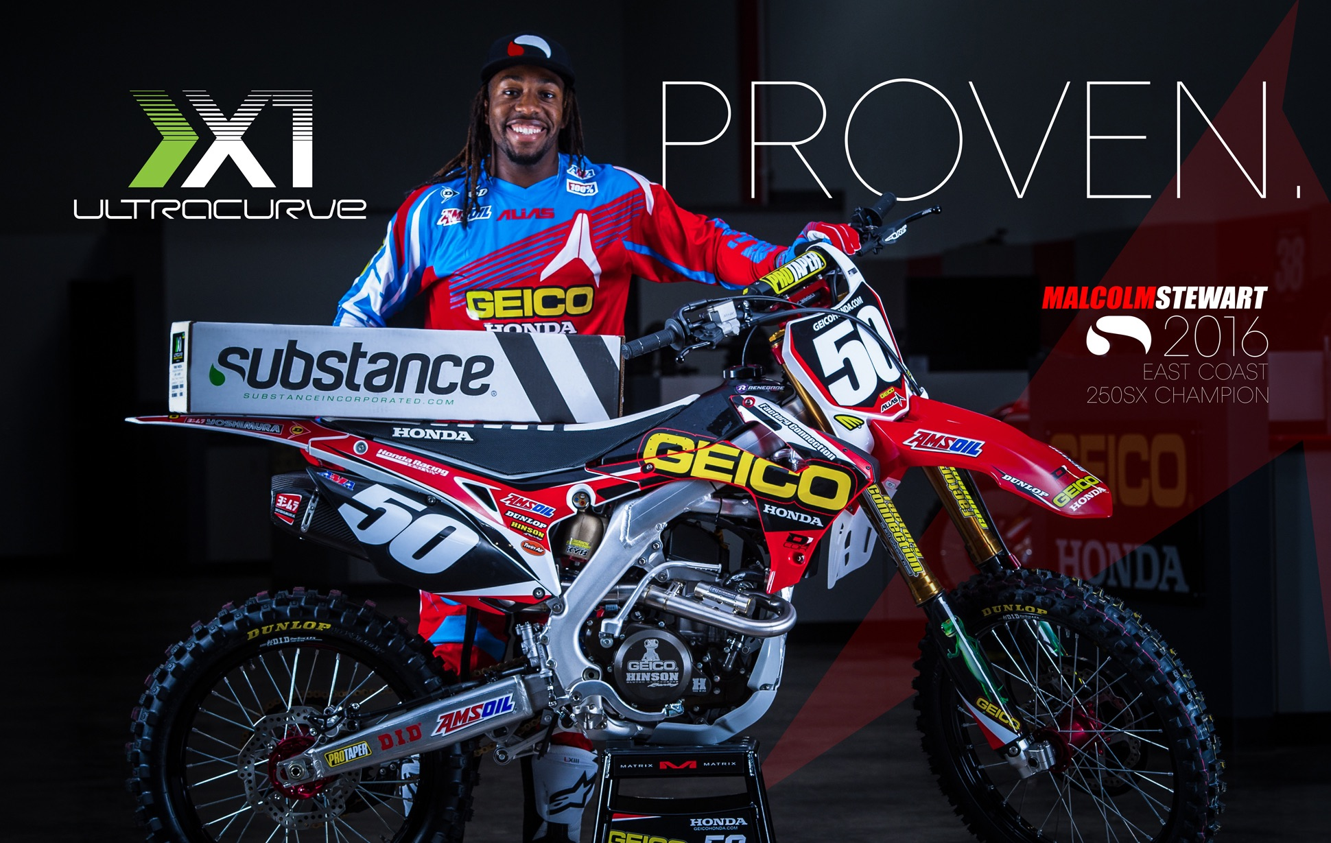 Malcom Stewart 2016 East Coast 250SX Champion Substance Ultracurve X1
